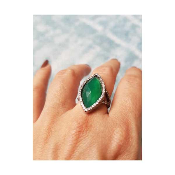 Yeşil Kuvars Pırlanta Model Oval Gümüş Yüzük