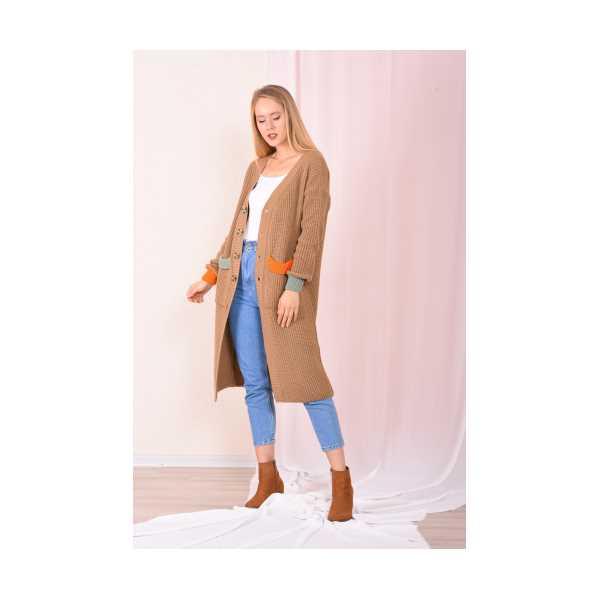 Kadın Vizon Cepleri Renkli Hırka