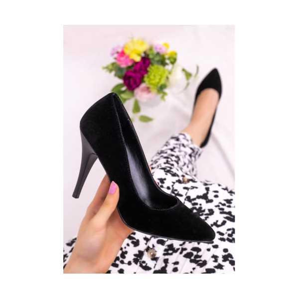 Oxoc Siyah Süet Stiletto Ayakkabı