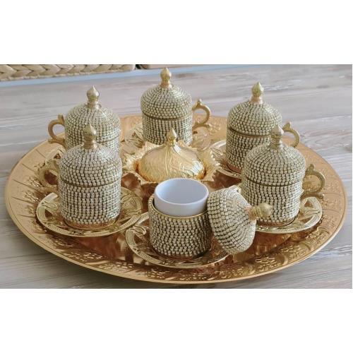 Osmanlı Motifli 6 Kişilik Türk Kahve Seti - Sarı Beyaz Taşlı
