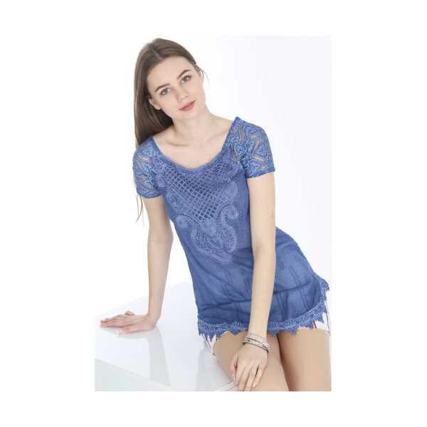 Patiska Kadın Mavi Eteği Ve Yakası Dantelli Yarım Kol Bluz 4002
