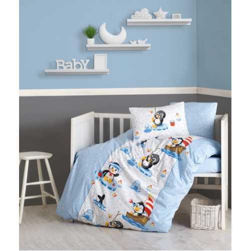 Cottonbox Penguen Mavi Bebek Nevresim Takımı
