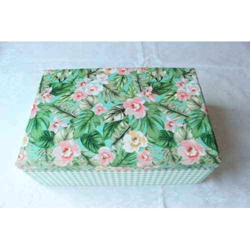 Elemeğim Kağıt Kaplamalı Pembe Çiçekli Yeşil Kutu