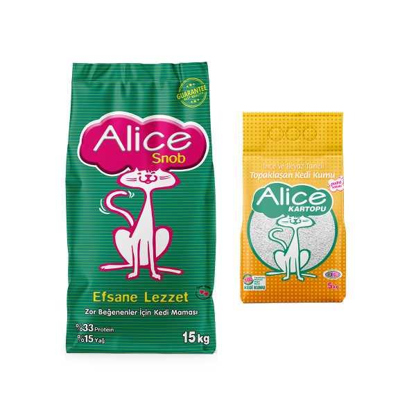 Alice Snob Kuru Kedi Maması 15 kg + 5 kg İnce Taneli Kedi Kumu