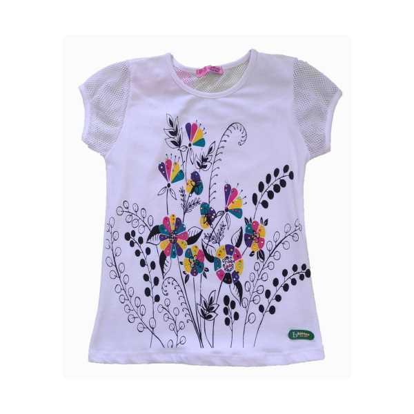 Kız Çocugu Tişört Fileli Çiçekli Beyaz Penye ÇKT-FÇ-8585