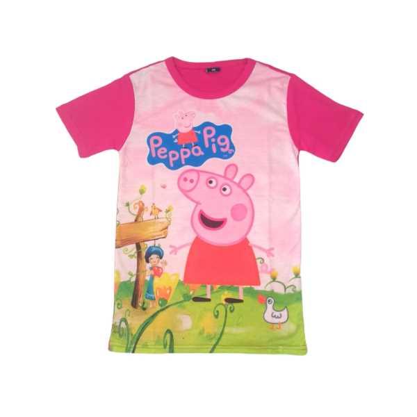 Peppa Pig Penye Pembe Kısa Kollu Kız Çocuk Tişörtü ÇKT-6752