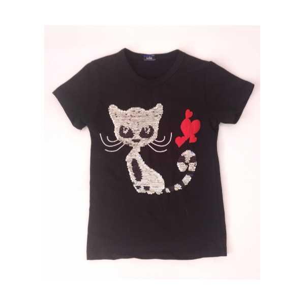 Kız Çocuk Çift Yönlü Renk Değiştiren Pullu Kedili T-shirt ÇKT-6680