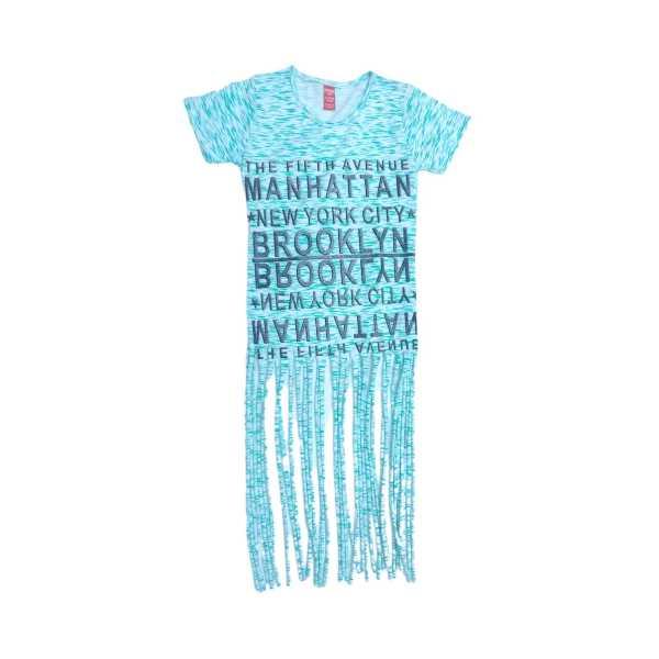 Kız Çocuk Mavi Manhattan Simli Yazılı Yıldızlı Eteği Püsküllü Kısa Kollu Penye Tişört ÇKT-M-YEŞİL