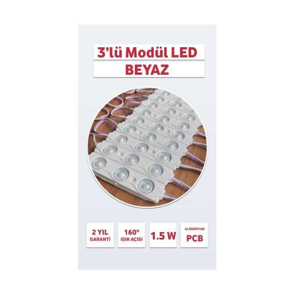3'LÜ MODÜL LED - BEYAZ - MERCEKLİ - 3LÜ MODÜL LED - 20 Adet