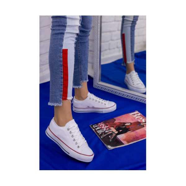 Pani Beyaz Keten Spor Ayakkabı