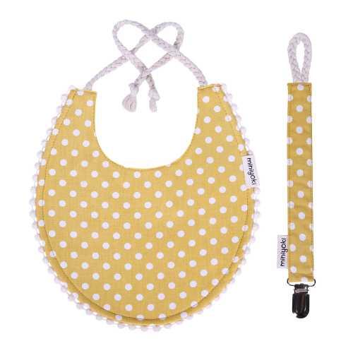 Solare Mama Önlüğü ve Emzik Askısı Seti - Ponpon Şeritli