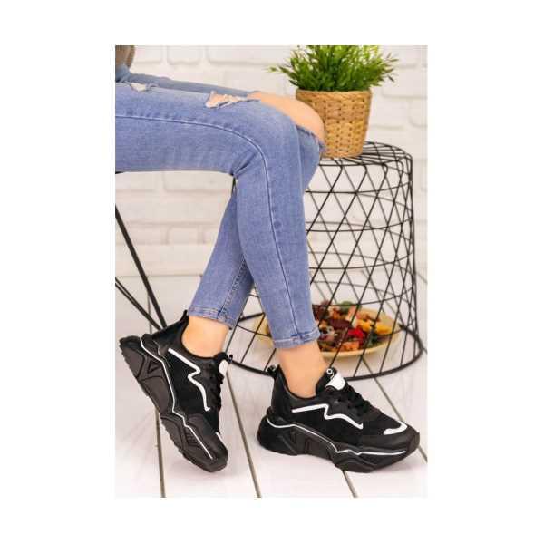 Dexac Siyah Cilt Beyaz Rugan Şeritli Spor Ayakkabı