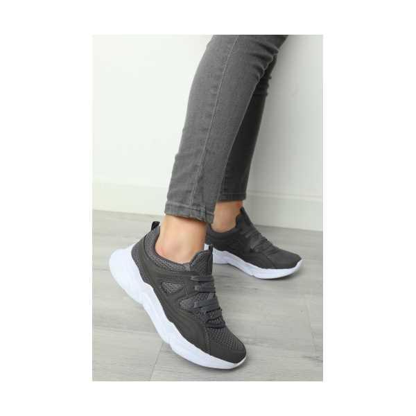 Füme Bağcıklı Kadın Spor Ayakkabı