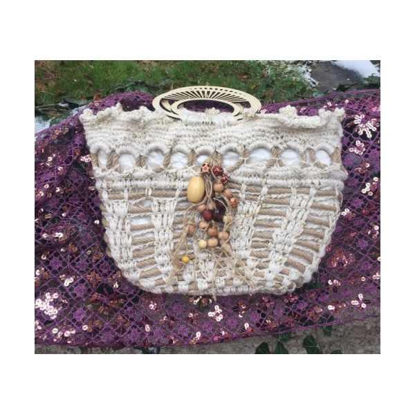 El örgülü halat işlemeli çanta