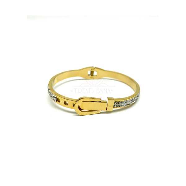 Taşlı Kemer Modeli Gold Renk Çelik Bileklik
