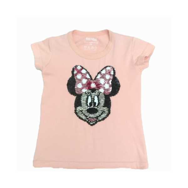 Kız Çocuk Çift Yönlü Renk Değiştiren Pullu Mickey Mouse Baskılı T-Shirt ÇKT-6671-YA