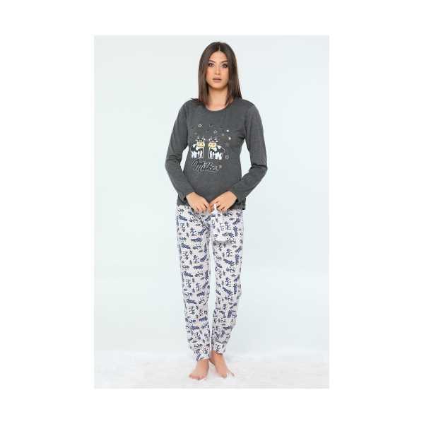 Antrasit Hayvan Figürlü Kadın Pijama Takımı 435154