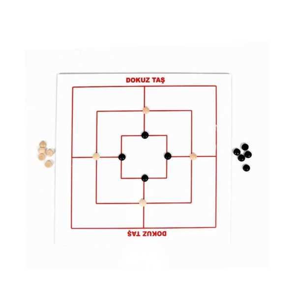 Ahşap Dokuz Taş Zeka Ve Strateji Oyunu