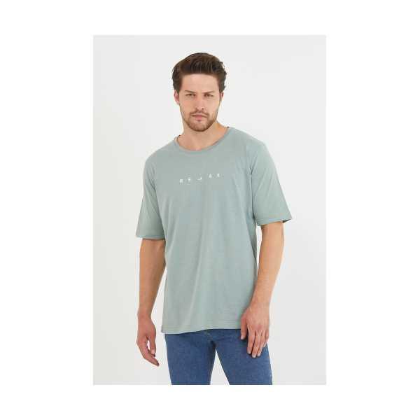 Erkek Açık Haki Relax Baskılı Slim Fit T-Shirt