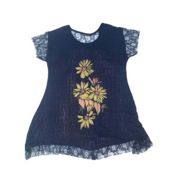 Büyük Beden Lacivert Taşlı Çiçekli Yuvarlak Yakalı Kolları Ve Eteği Dantelli Kadın Elbisesi 10879-Ö