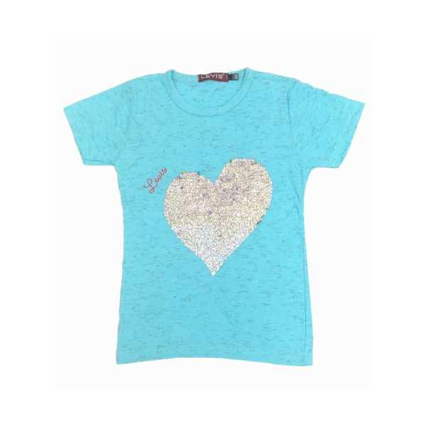 Kız Çocuk Turkuaz Çift Yönlü Renk Değiştiren Pullu Kalpli T-Shirt ÇKT-6406