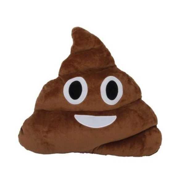 Kahverengi Gülen Poo Emoji Yastık