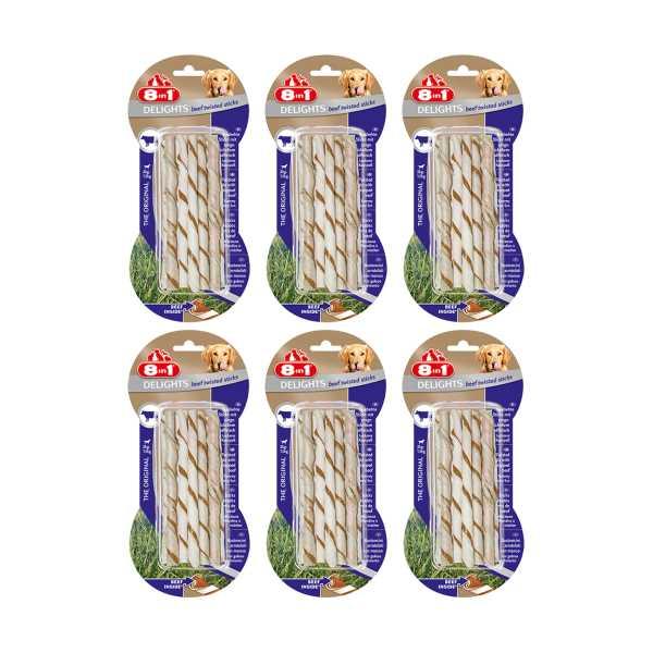 8in1 Beef Delights Twisted Sticks Köpekler İçin Biftekli Ağız Bakım Kemiği x 6 Adet