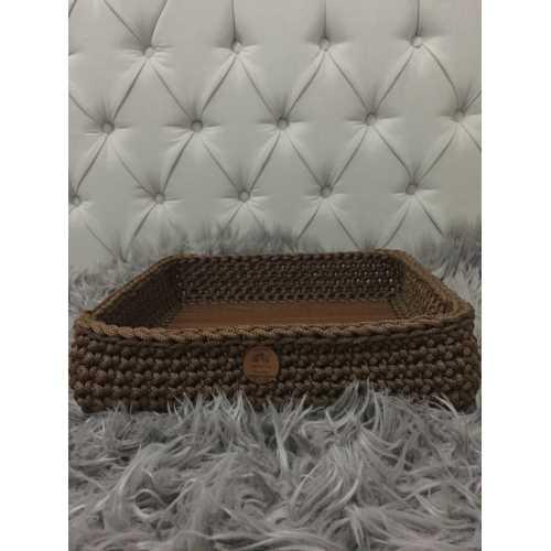 Örgü Dekoratif Sepet Kahverengi Kare 30x30