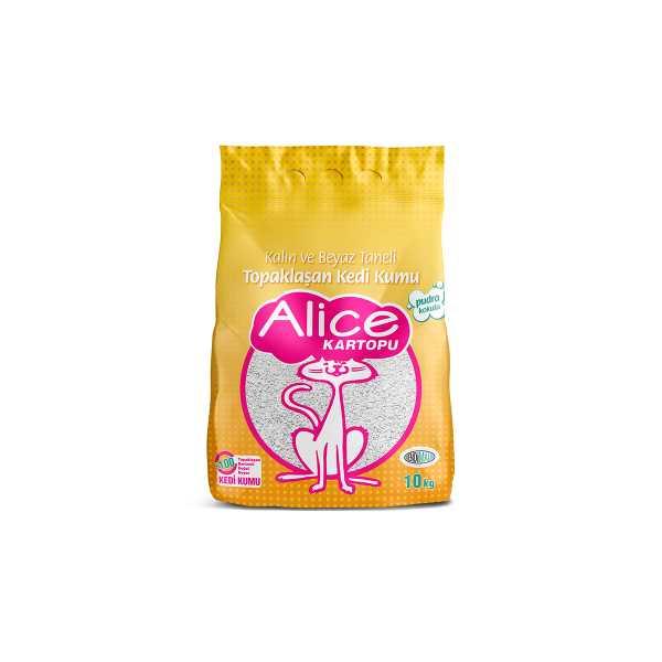 Alice Kalın ve Beyaz Taneli Topaklaşan Pudra Kokulu Kedi Kumu 10 Kg (11,5 Lt)