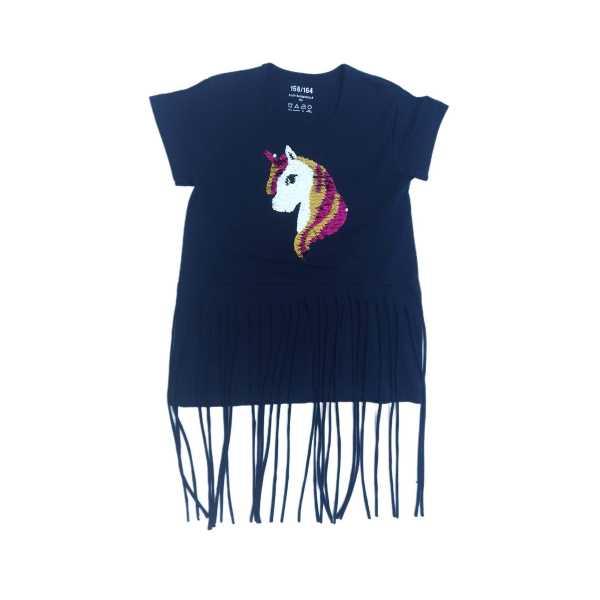 Kız Çocuk Püsküllü Renk Değiştiren Pullu Atlı Penye Tişörtü ÇKT-PA