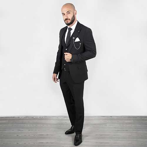 DeepSEA Siyah Parlak Likralı Slimfit 3'lü Takım Elbise 2001123