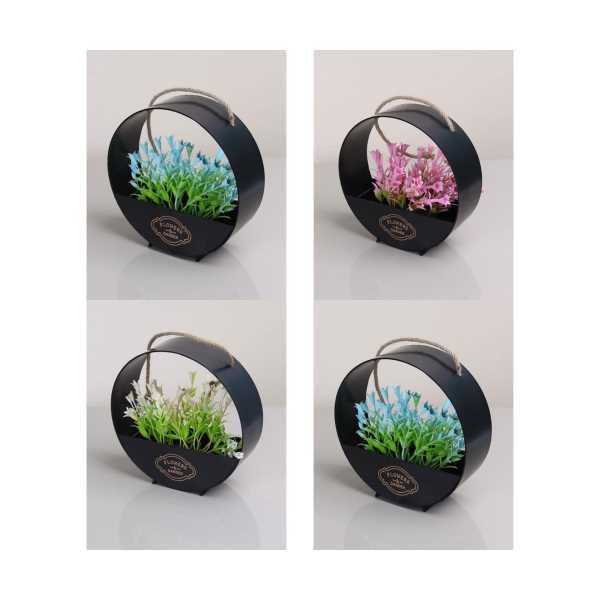 Çiçekli Dekoratif Silindir Çember - Kapı Süsü Saksı