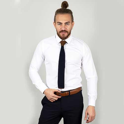 DeepSEA Beyaz Yüksek Yaka Slim Fit Gömlek 2000885