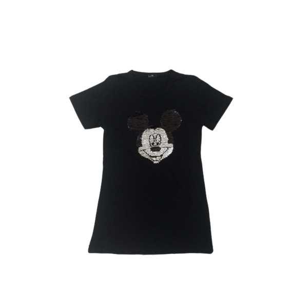 Kız Çocuk Çift Yönlü Renk Değiştiren Pullu Mickey Mouse Baskılı T-Shirt ÇKT-6671-S