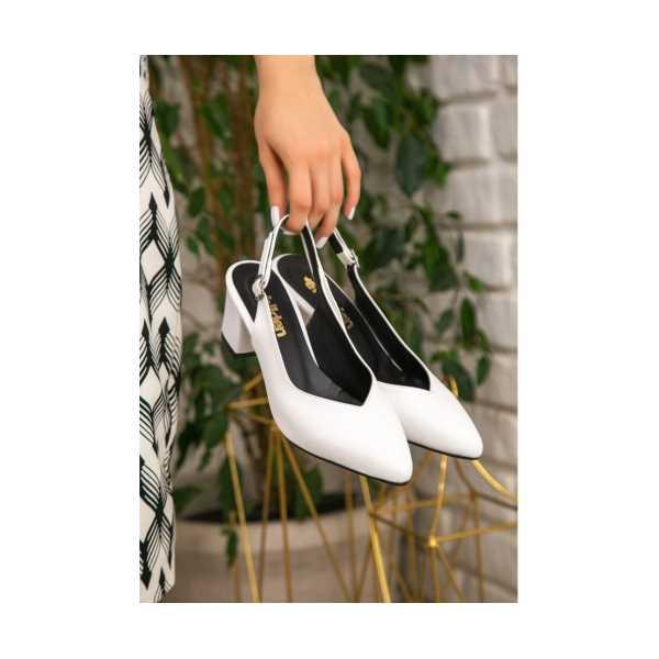 Okize Beyaz Cilt Topuklu Ayakkabı