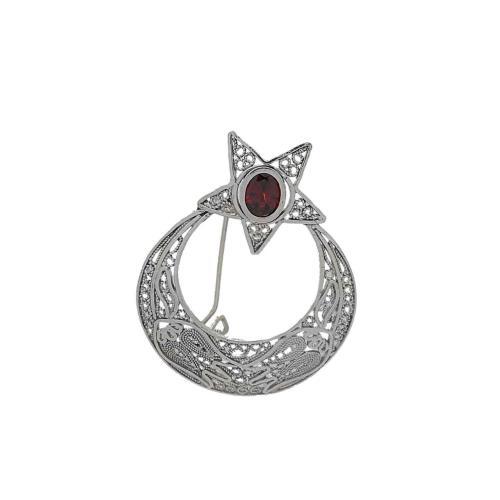 Ayyıldız Figürlü Taşlı   Telkari Gümüş Broş