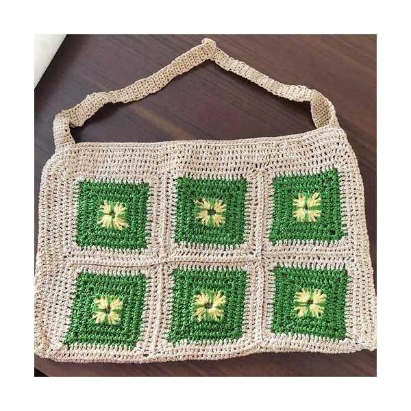 Motifli El Örgüsü Alışveriş Çantası kadın örgü çanta
