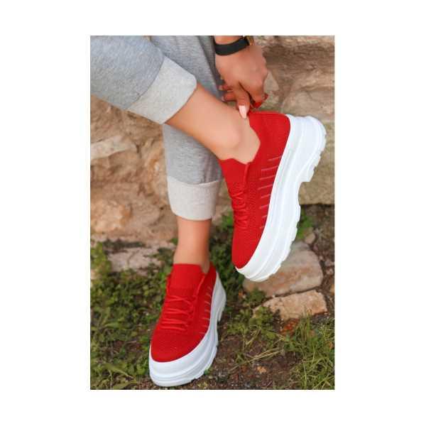Eseme Kırmızı Triko Bağcıklı Spor Ayakkabı
