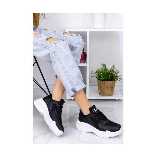 Rinada Siyah Cilt Beyaz Tabanlı Fileli Spor Ayakkabı