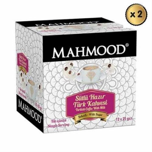 Mahmood Coffee Hazır Türk Kahvesi Sütlü Şekerli 25 gr x 12 adet ( 2 ADET )midyatziv