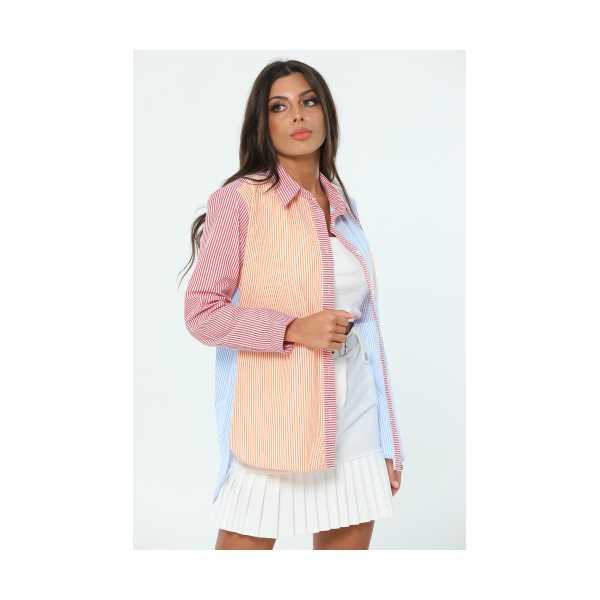 Bordo Çizgili Renkli Kadın Gömlek 449687