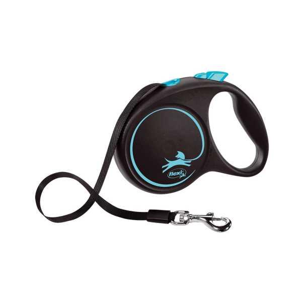 Flexi Black Design Şeritli Otomatik Gezdirme Tasması Mavi-Siyah 5m Medium