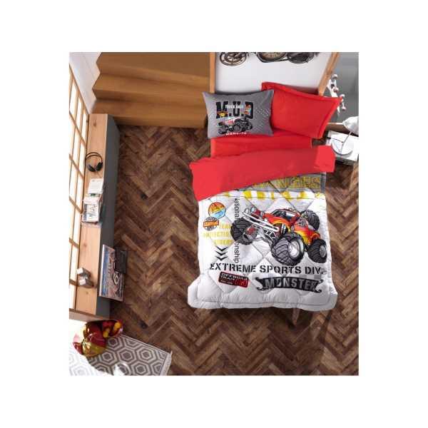 Cottonbox Junior Ranforce Tek Kişilik Uyku Seti Monster Kırmızı