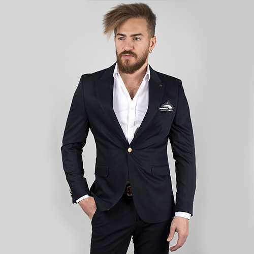 DeepSEA Lacivert Saten Kumaş Slim Fit Blazer Ceket 2002004