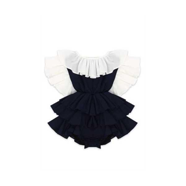 Tülü Akkoç Kat Kat Fırfırlı Elbise -Lacivert