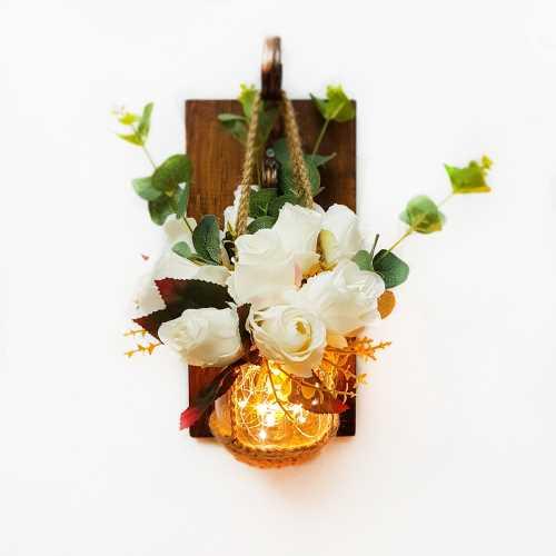 Beyaz Çiçekli, Led Aydınlatmalı Aplik