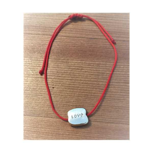 Mini Love Plakalı Kırmızı İpli Ayarlanabilir Bileklik