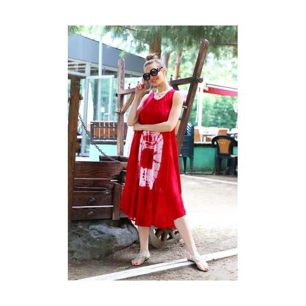 Patiska Kadın Uzun Çan Yuvarlak Desenli Batik Elbise 41361