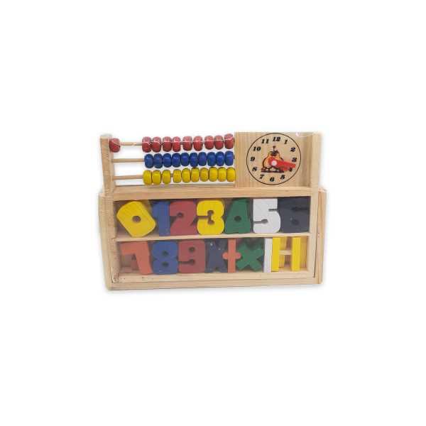 Montessori Eğitici Oyuncak: Ahşap Abaküs, Rakamlı Matematik Öğrenim Seti