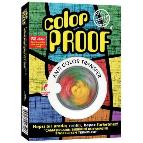 Color Proof 1 Kutu = 12 Adet Renkli-Beyaz çamaşır mendili